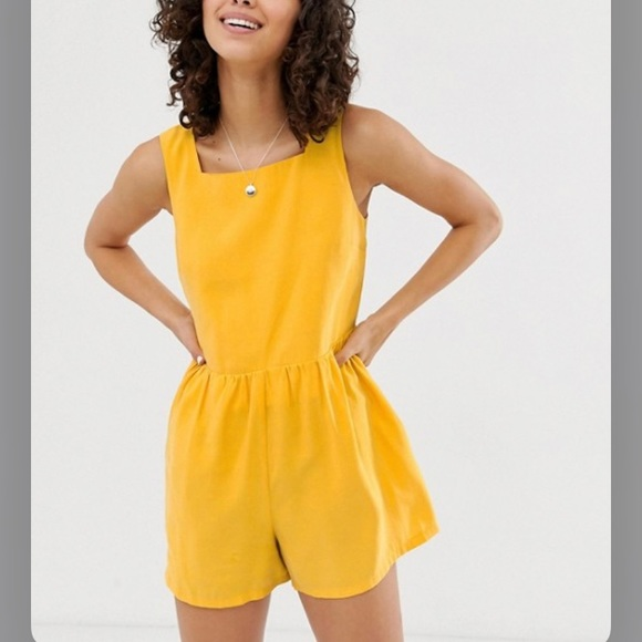 ASOS Dresses & Skirts - Adorable ASOS Button Back Yellow Romper sz 6